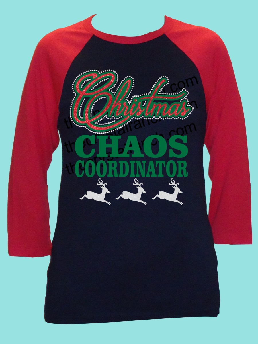 Christmas Chaos Coordinator Rhinestone and Glitter Tee THV065