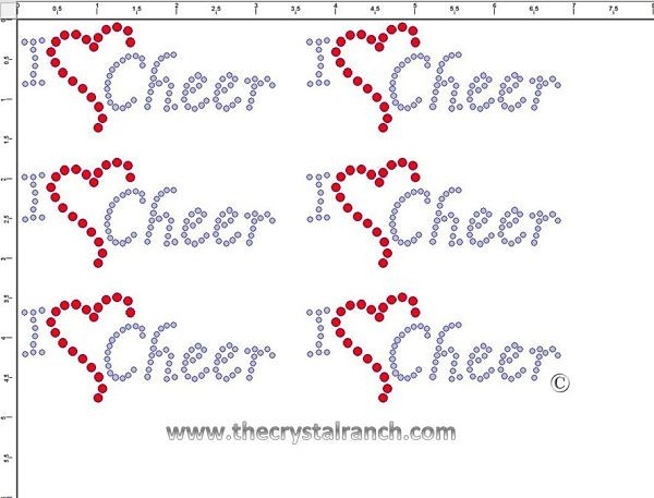 I Love Cheer - Petite (6) Rhinestone Transfer CRK057cs