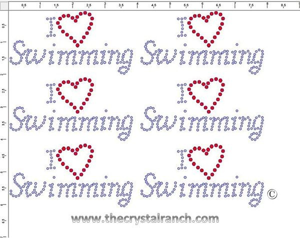 I Love Swimming - Petite (6) Rhinestone Transfer CRK065cs