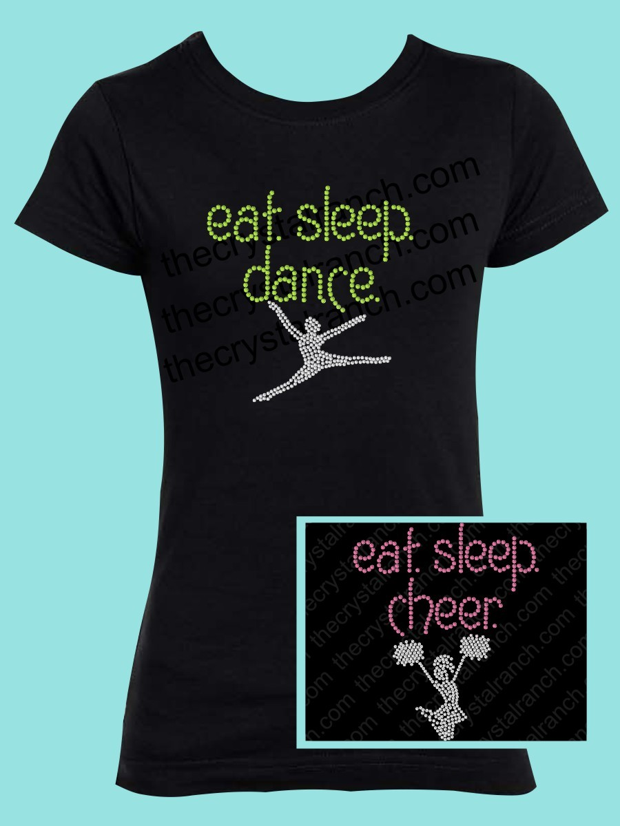 Eat Sleep Dance or Cheer Rhinestone Tee GTS290