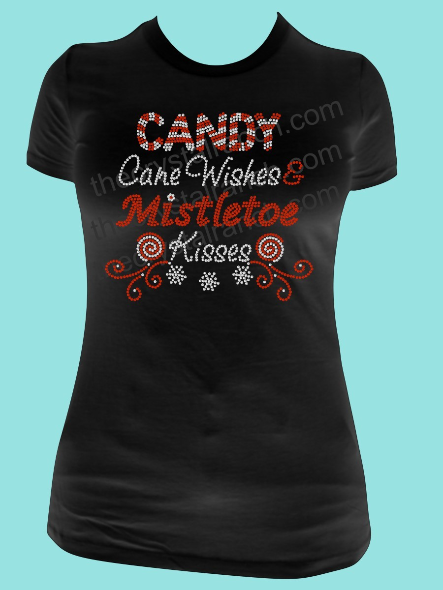 Candy Cane Wishes and Mistletoe Kisses Rhinestone Tee TH204