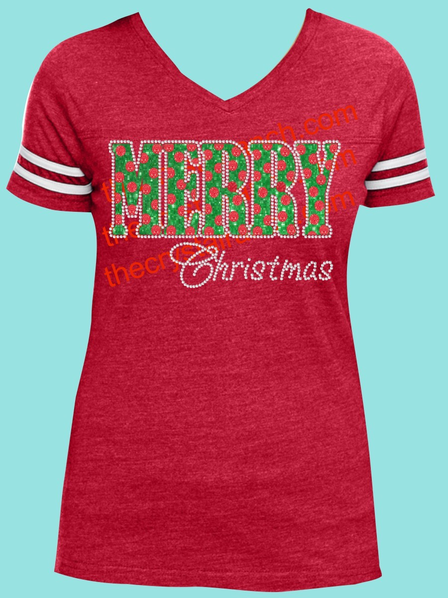 Polka Dot Merry Christmas Rhinestone and Glitter Tee THV004