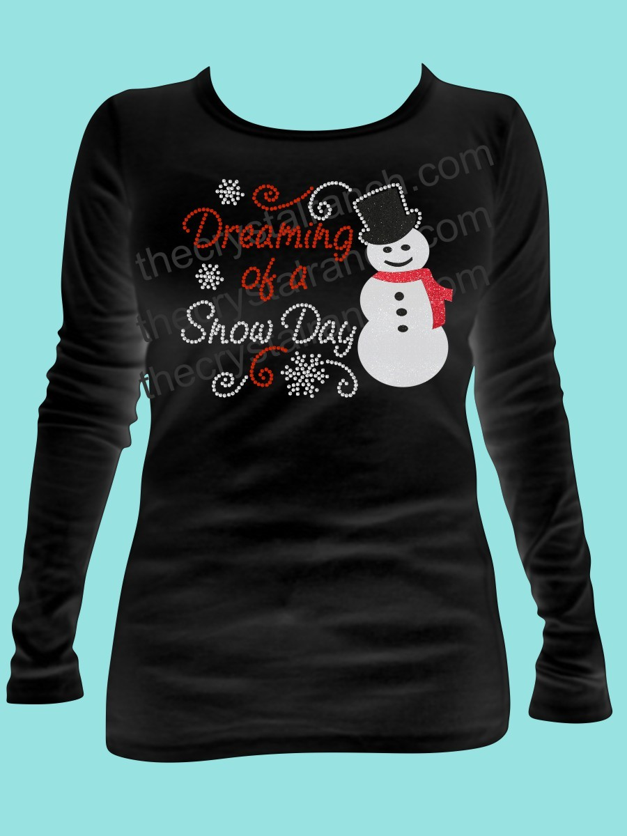 Dreaming of a Snow Day Rhinestone and Glitter Tee THV015