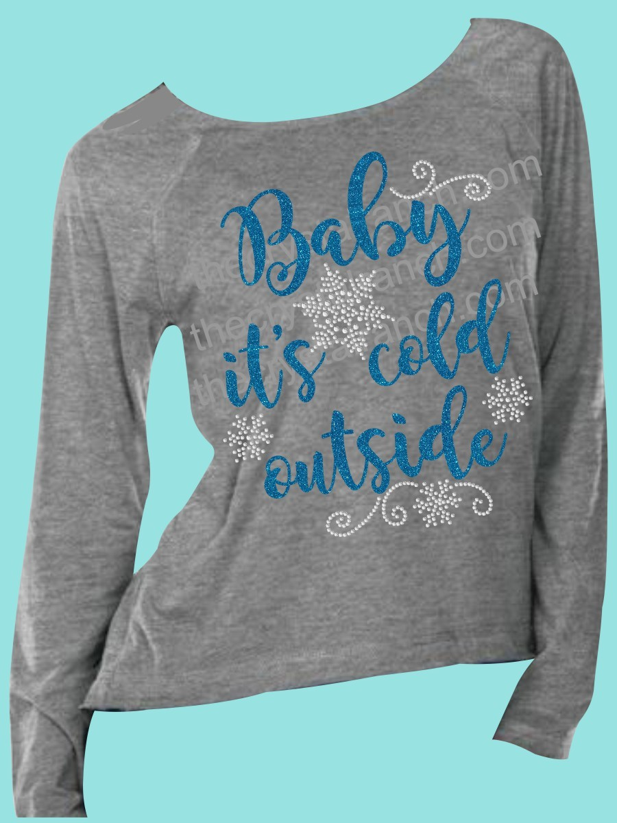 Baby it's cold outside Rhinestone and Glitter Tee THV029