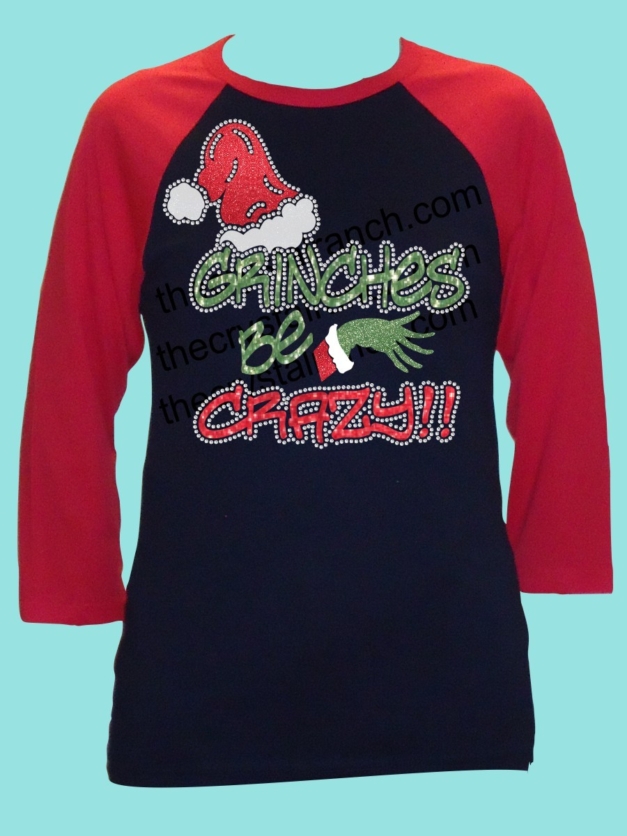 Grinches Be Crazy Rhinestone and Glitter Tee THV035