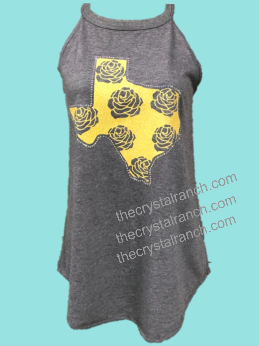 Yellow Rose of Texas Rhinestone and Glitter Tee TRV051