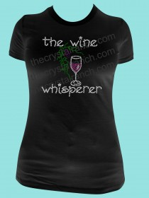 The Wine Whisperer Rhinestone Tee TB024
