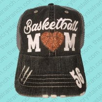 Basketball Heart Mom Glitter Cap CTV020E