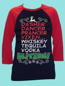Dasher Dancer Prancer Vixen Whiskey Tequila Vodka Blitzened Rhinestone and Glitter Tee THV069