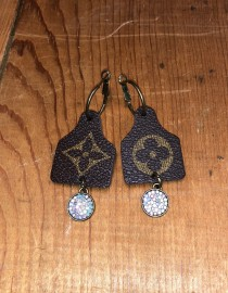 Upcycled LV Cattle Tag Earrings