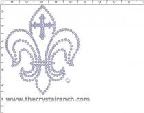 Fleur de lis outline with Cross Rhinestone Transfer CRJ009