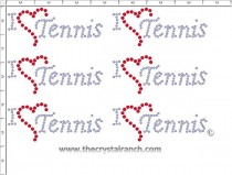 I Love Tennis - Petite (6) Rhinestone Transfer CRK056cs