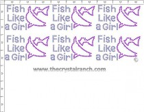 Fish Like a Girl - Petite (6) Rhinestone Transfer CRK125cs