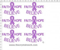Faith Hope Believe - Petite (6) Rhinestud Transfer CRK130s