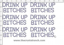 Drink Up Bitches - Petite (6) Rhinestone Transfer CRK156