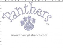 Panthers with Paw Print Rhinestone Transfer CRT193