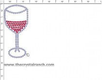 Wine Glass Rhinestone Transfer CRY245ck