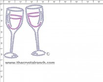 Wine Glasses Rhinestone Transfer CRY246ck