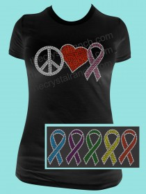 Peace Love Cure Rhinestone Tee TG145