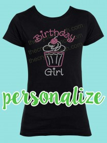 Birthday Girl with Cupcake Rhinestone Tee GTF042
