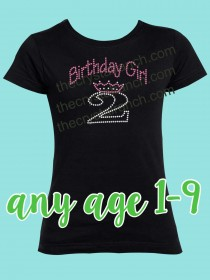 Birthday Girl with Number Rhinestone Tee GTF045