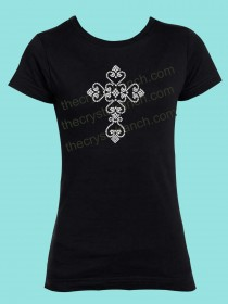Heart Cross Rhinestone Tee GTJ005