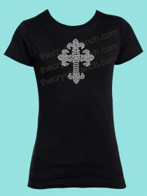 Saints Cross Rhinestone Tee GTJ018