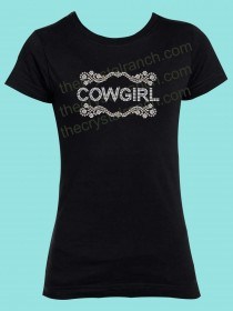 Cowgirl Scroll Rhinestone Tee GTR006