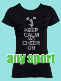 Keep Calm and Cheer On Rhinestone Tee GTS276