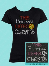 This Princess Wears Cleats Rhinestone Tee GTS298