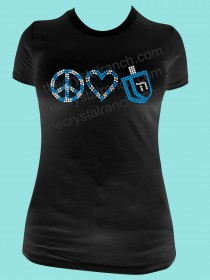 Peace Love and Dreidel Rhinestone Tee TH022