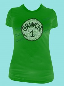 Grinch 1 or 2 or 3... Rhinestone Tee TH121