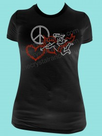 Peace Love Cupid Rhinestone Tee TH135