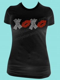 XOXO (lips) Rhinestone Tee TH136