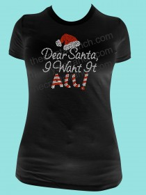Dear Santa, I want it All! Rhinestone Tee TH177