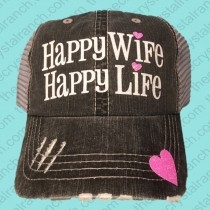 Happy Wife Happy Life Glitter Cap CFW010