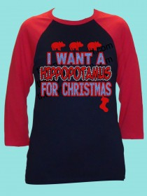 I Want a Hippopotamus for Christmas Rhinestone and Glitter Tee THV068