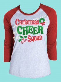 Christmas Cheer Squad Rhinestone and Glitter Tee THV001