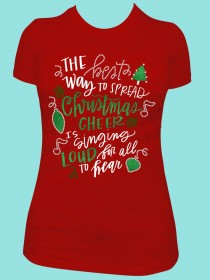 Spread Christmas Cheer is Singing Loud for all the Heart Rhinestone and Glitter Tee THV014