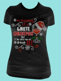 Dreaming of a White Christmas Screen Print and  Rhinestone Tee THV016