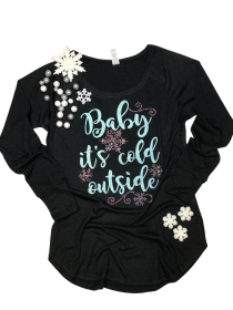 Baby it's cold outside Rhinestone and Glitter Tee THV029NC
