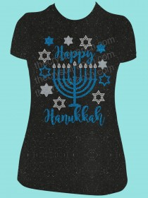 Happy Hanukkah Rhinestone and Glitter Tee THV038