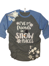 I've Got Friends is Snow Places Rhinestone Tee THV063NC