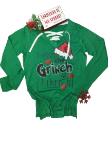 I Kissed the Grinch and I Liked It Rhinestone and Glitter Tee THV074NC