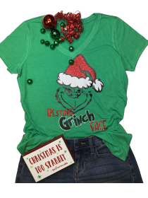 Resting Grinch Face Rhinestone and Glitter Tee THV075NC