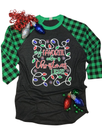 My Favorite Color is Christmas Lights Rhinestone and Glitter Tee THV101NC