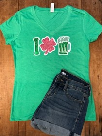 I Love Green Beer Rhinestones and Glitter Tee THV601