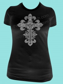 Saints Cross Rhinestone Tee TJ018