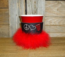 Peace Love Red Solo Cup Rhinestone Drink Koozie KB157