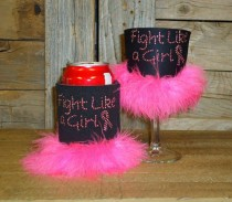 Fight Like a Girl Rhinestud Drink Koozie KG132